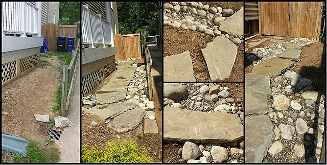 bona terra dc landscape design stone pathway dry stream bed colonial steppers