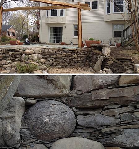 bona terra dc landscape design stone dry stack retaining wall patio pergola
