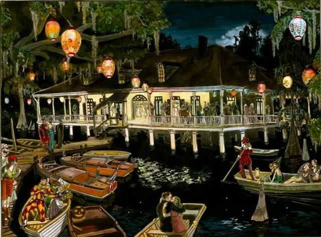 bayou club , plantation house, vintage halloween, wooden boats