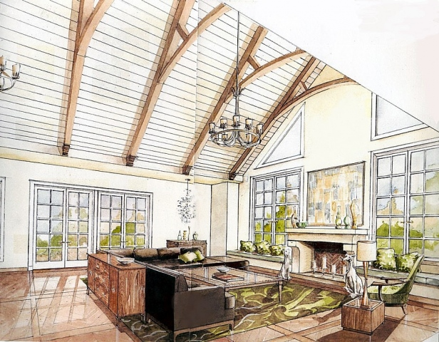 Hand painted watercolor rendering of a sun room in Connecticut by Renderings by Architects Studio