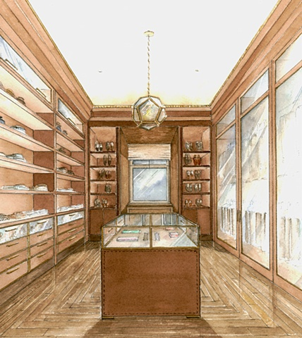 Hand painted watercolor rendering of a walk-in closet in Moscow by Renderings by Architects Studio