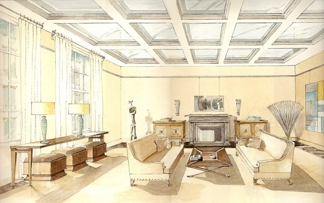Hand painted watercolor rendering of an interior in Manhattan's upper east side by Renderings by Architects Studio