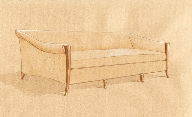 Hand painted watercolor rendering for a sofa proposal by Renderings by Architects Studio
