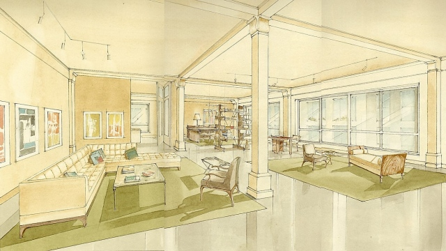 Hand painted watercolor rendering of a New York City loft by Renderings by Architects Studio