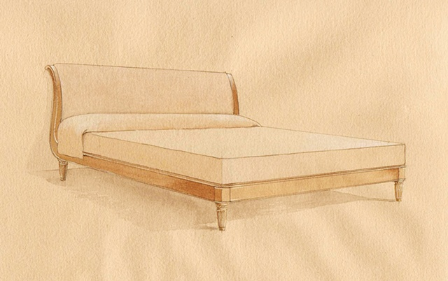 Hand painted watercolor rendering for a bed proposal by Renderings by Architects Studio
