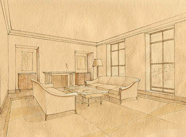Hand painted watercolor rendering for an interior proposal by Renderings by Architects Studio