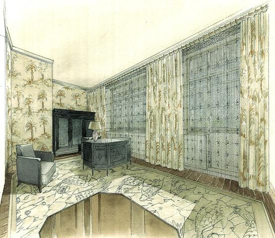 Hand painted watercolor rendering of a residential library in Moscow by Renderings by Architects Studio