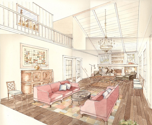 Hand painted watercolor rendering of a living room in upstate New York by Renderings by Architects Studio