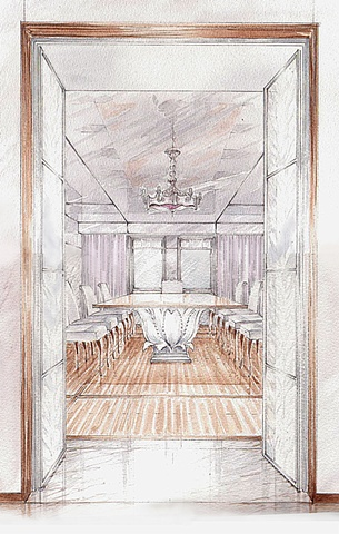Hand painted watercolor rendering of a dining room in Moscow by Renderings by Architects Studio