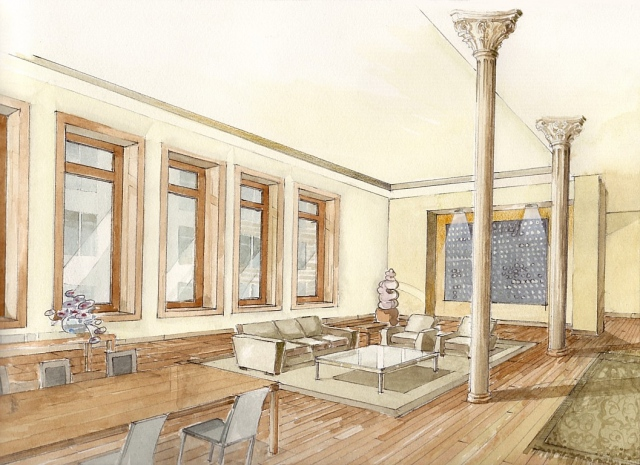 Hand painted watercolor rendering of a downtown loft in Manhattan by Renderings by Architects Studio