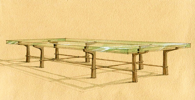 Hand painted watercolor rendering for a coffee table proposal by Renderings by Architects Studio