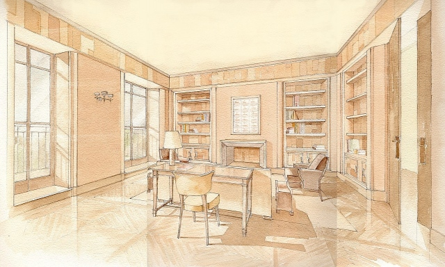 Hand painted watercolor rendering of a residential library in New Yok City by Renderings by Architects Studio
