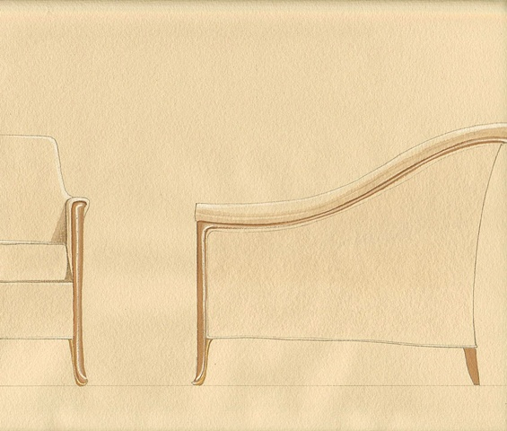 Hand painted watercolor detail for a sofa proposal by Renderings by Architects Studio