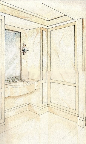 Hand painted watercolor rendering of a vanity room in New York City by Renderings by Architects Studio