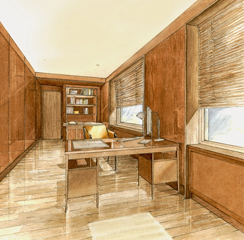 Hand painted watercolor rendering of an offcie space in Moscow by Renderings by Architects Studio