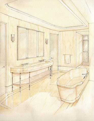 Hand painted watercolor rendering of a marble batroom in New Yor City by Renderings by Architects Studio
