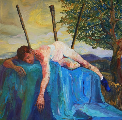 Saint Sebastian with Blue Sock