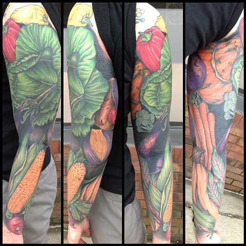 healed full sleeve vegetable tattoo
