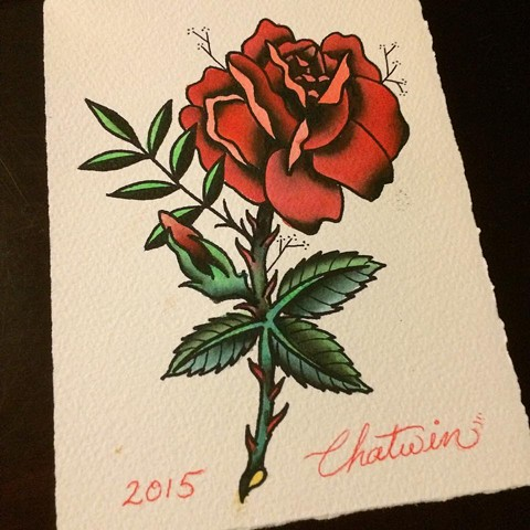 watercolor tattoo flash, rose, tattoo, color, painting