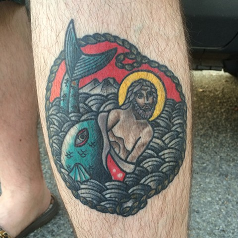 color tattoo, religious tattoo, traditional