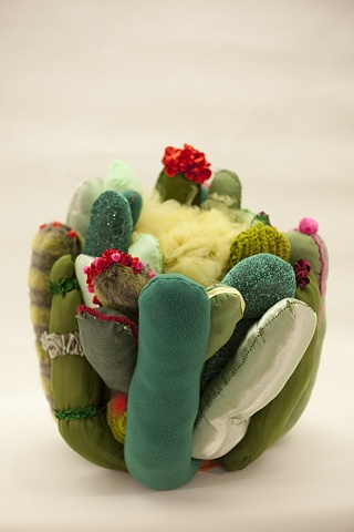 cactus, green cactus art, cactus sculpture, Lauren Turk, fabric sculpture, fiber art, fabric installation