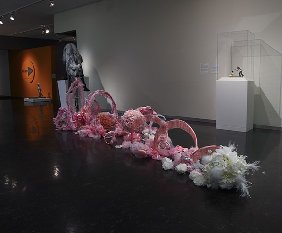 in Bocca al Lupo, Beth Cavener Stichter, collaboration, wolf vomit sculpture, pink vomit, pink puking sculpture