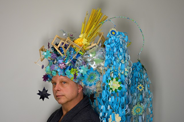 headdress, sculpture, paper sculpture, paper art, Lauren Turk, paper,