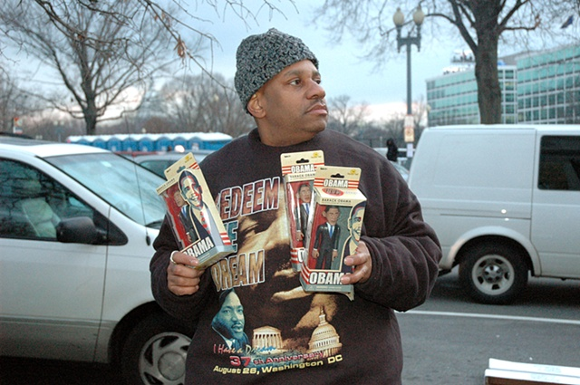 Obama action figure vendor, Inauguration, Washington DC