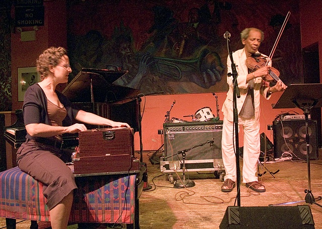 Jazz pianist Myra Melford and jazz violinist Leroy Jenkins at the Hot House, a Chicago jazz club