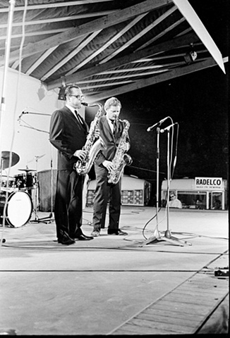 Al Cohn and Zoot Sims on stage at the Bilzen Jazz Festival, Belgium