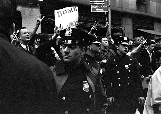 Pro-war display at an anti-Vietnam War protest march, New York