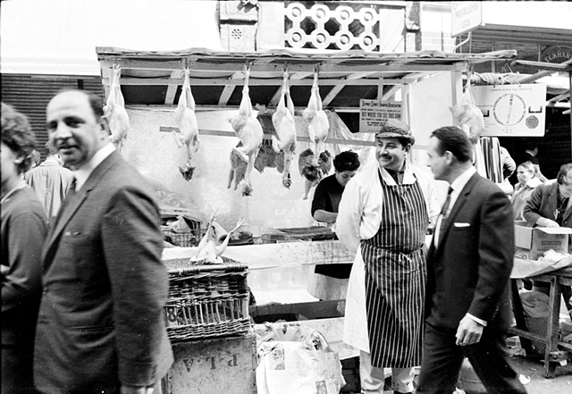 Kosher butcher, Stepney Street outdoor market, East End, London