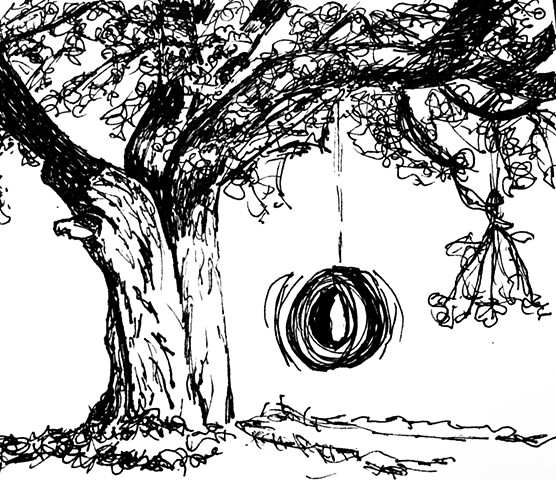 tire swing on tree sketch