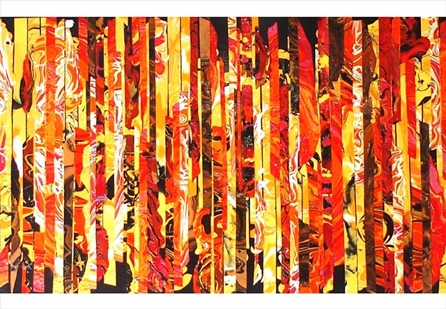 Abstract, fragmented collage painting in warm orange, reds, golds and yellows by Julee Latimer