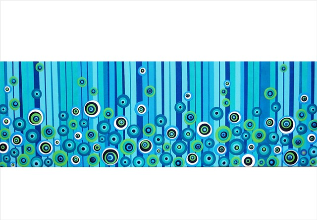 Circle and stripe painting in a variety of striking blues by Julee Latimer