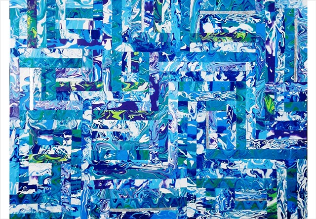 Abstract, fragmented collage painting in bright blues and green by Julee Latimer