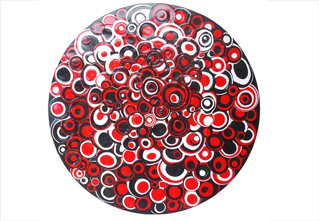 Assemblage, collage painting of circles in red, black and white by Julee Latimer
