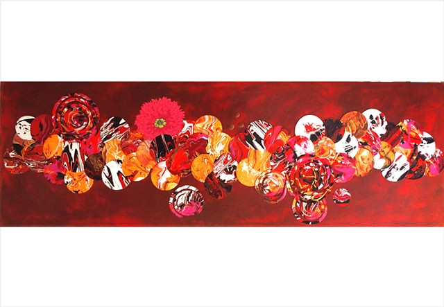 Assemblage, collage painting of flowers and circles in bronze, pink and orange by Julee Latimer