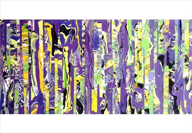 Abstract, fragmented collage painting in purples, violet, lime and yellow by Julee Latimer