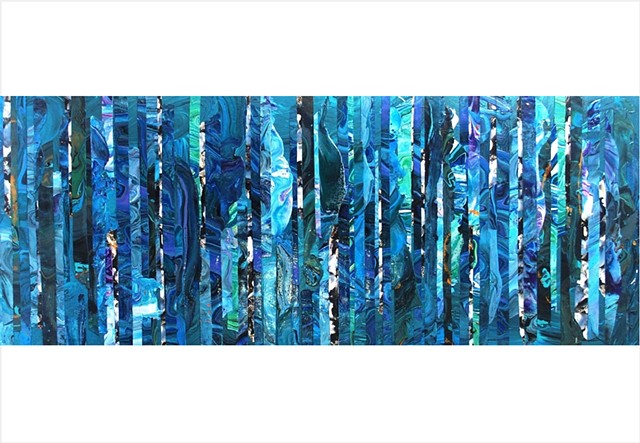 Abstract, fragmented collage painting of deep sea blues and greens by Julee Latimer