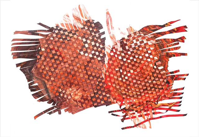 A brown, red and pink woven painting on canvas by Julee Latimer.
