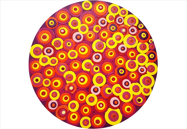 bold and dramatic retro circle painting layered onto circular panel by Julee Latimer