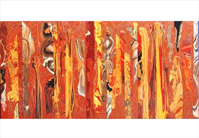 Abstract, fragmented collage painting in earthy terracotta tones with metallic pen work by Julee Latimer