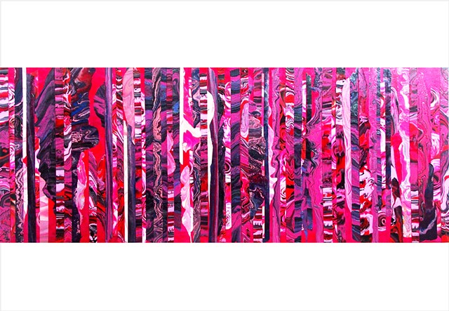 Deep pink, purple, and red, fragmented abstract collage painting with roses by Julee Latimer