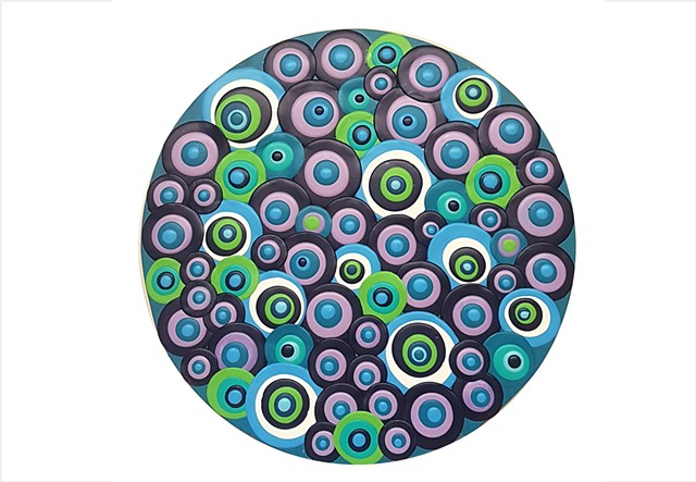 blue and lime retro circles by Julee Latimer