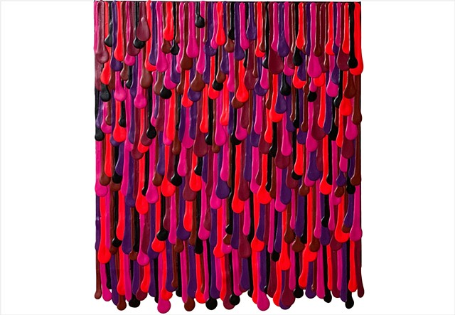 crushed berry colours on a drip painting by Julee Latimer