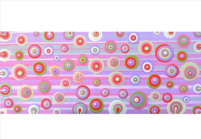 pastel circles and stripes abstract painting by Julee Latimer