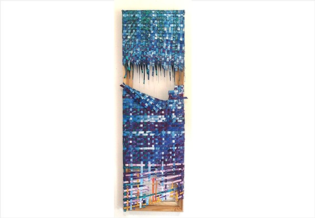 Live to Tell by Julee Latimer - blue woven contemporary paint textile