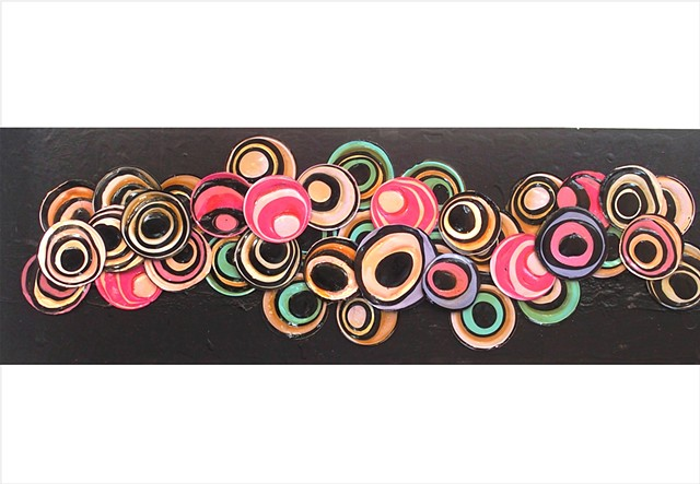 Assemblage collage painting of circles in black, pink and pale blue by Julee Latimer
