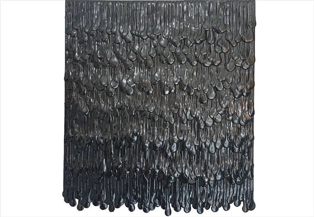 Back to Black by Julee Latimer - glossy black fringe painting